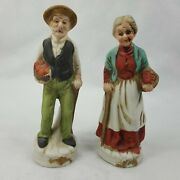 Two Flambro Porcelain Figures Elderly Man And Older Woman Carrying Apples Iffx9