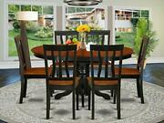 East-west Furniture Avat7-blk-w 7-piece Dining Table Set 6 Black/cherry Finish