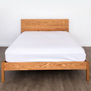 Solid Wood Platform Bed Frame Headboard Oak Maple Hand Crafted Usa Assembly Mesa