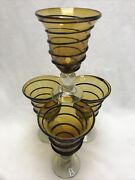 Hand Blown Wine Water Stem Goblets Set Of 4 Amber With Applied Black Glass Swirl