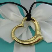 And Co. 18k Gold Elsa Peretti 36mm Open Heart Pendant Necklace 3100