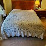 Vintage Crochet Bedspread Blanket Queen Or King Lace 91x 99 Never Used