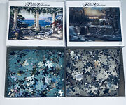 Lot Of 2 Roseart 750 Piece Jigsaw The Puzzle Collection 3 Bucks Cabin And Terrace