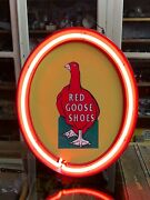 Old Vintage Red Goose Shoes Sign Neon Collection Mancave Decor Counter Display
