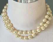 """Carolee Faux Pearl Choker Layered Statement Necklace Costume Jewelry 13-16"""" Vtg"""