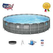 New Coleman 22and039x52 Power Steel Swimming Pool Set W/ Pump Ladder And Cover