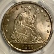 1875-s 50c Seated Liberty Silver Half Dollar Coin Pcgs 64
