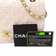Quilted 25 Pink W Flap Chain Shoulder Bag Tweed Gold Hardware W/g Card