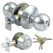 Stainless Steel Grade-3 Entry Door Knob Combo Lock Set With Deadbolt And 24 Sc1