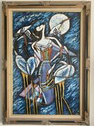 Large Painting On Canvas Original Lady And Cranes And Moon