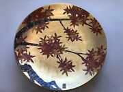 Rare Japanese Arita Gold Leaf Hand Painted Red Maple Leaf Charge, Autumn Scene