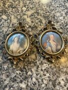 Set Of 2 Victorian Ornate Oval Mini Wall Picture Framed Ladies