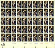 Us 1842a 1980 15c Madonna And Child, Sheet Of 50 Imperf, Mnh Cv 1,060