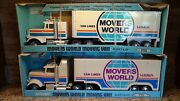 Set 1990and039s Vintage Nylint Freightliner Semi Box Truck Movers World U-haul Promo