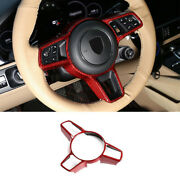 For Porsche Macan 2015-2021 Red Dry Carbon Fiber Steering Wheel Strip Cover Trim