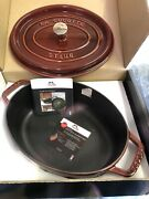 Staub Cast Iron 4qt Oval Dutch Oven French Cocotte With Lid New