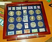 ☆rare☆ Estate Find Collection Of Eisenhower Coins 30 And Collectors Stamps 15☆