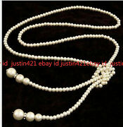 Real 4-5mm White South Sea Pearl Shell Pearl Drop Necklace Long Chain Rope 50