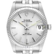Tudor Date Silver Dial Steel Vintage Mens Watch 74034 Box Tag