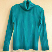 Pleats Please Issey Miyake Womenand039s Tops Turquoise Ribbed Turtleneck Sewn Japan