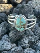 Navajo Handmade Sterling Silver And Number 8 Turquoise Signed Cuff Signed