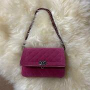 Quilted Mini Pink Flap Chain Shoulder Bag Boy W/g Card Ladies Auth