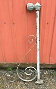 Antique Wall Mount Gothic Iron Street Lamp Long Arm Fixture Industrial Deco Vtg
