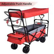 Collapsible Folding Wagon Cart W/ Canopy Utility Garden Trolley Buggy Outdoor Us