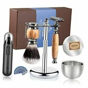 Luxury Safety Razor Shaving Kit For Men-includes Electric Nose Hair