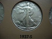 1937-s Almost Uncirculated Cleaned Walking Liberty Silver Half Dollar - L93