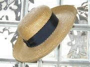 Laura Ashley Vintage Summer Straw Hat With Upturned Brim And Ribbon One Size
