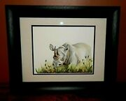 Rhinoceros African Original Watercolor Painting, Vibrant, Detailed, Signed, Mint