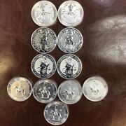 Lot Of .999 Fine Silver Coins - 2 Oz Each - 11 Coins In Lot - 22 Troy Ounces