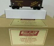 ✅right Of Way Weaver Union Pacific 2 Bay Offset Coal Hopper 10 Car Set O Scale