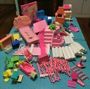 Vintage Barbie Playset Parts Lot1993 Fountain Pool Sweet Roses Western Bbq ++