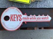 Original Vintage Curtis Keys Sign Double Sided Die Cut House Car Auto Office Old