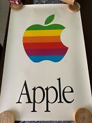 Iconic 1980s Apple Computer 6 Color Logo Poster Rare Vintage Near Mint