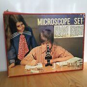 Selsi Microscope Set 1960 Vintage Children Toy 150x-600x Butterfly Slide Manual