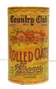 Antique Kroger Country Club Rolled Oats Container Box Kroger Cincinnati Oh.