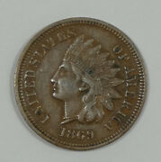 1869 Indian Head/oak Wreath Rev Cent Almost Uncirculated 1c Desirable Date