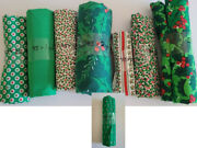 Huge Lot Christmas Fabric Cotton Variety Prints 9 Pieces Crafts Sewing