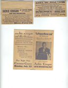 Jackie Coogan 1937 Orchestra 3 Items Admission Card Adverts Child Actor Very Rar