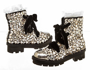 Alexander Mcqueen Black Leather Embellished A/w 14 Combat Boots Size 37