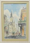 M. Neeld St Louis Cathedral New Orleans Original Watercolor Painting 1976