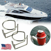 2pcs Stainless Steel Ring Cup Drink Holder Polished Boat Marine Yacht Truck Usa