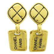 Cc Logos Shaking Earrings Clip-on Gold-tone 2443 Authentic 71301