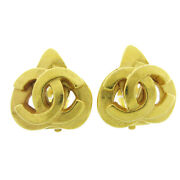 Cc Logos Earrings Clip-on Gold-tone Accessories 97p 71365