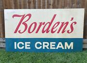 Vintage 1950s Borden's Ice Cream Large Metal Advertising Sign 8ft Very Nice Rare