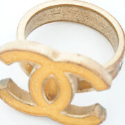 Gold Lame Coco Mark Ring Eu53 Us 6.5-7 Plating Resin Yellow Storage Bags