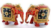 Vintage Multi-color Hand Carved Old Hand Painted Wooden Elephant Statue/figurine